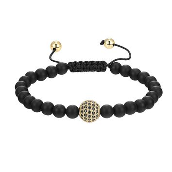 14k Gold Finish Black Matt Bead Ball Bracelet Black lab diamonds Charm Braided Lock