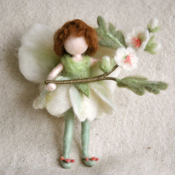 Flower Fairy Waldorf inspired needle felted doll: May Fairy