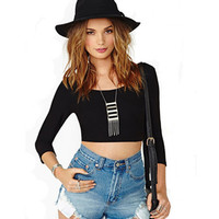 Black Long Sleeve Cropped Top