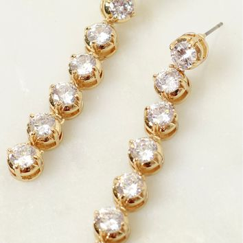 Diamond Diaries Crystal Earrings Gold