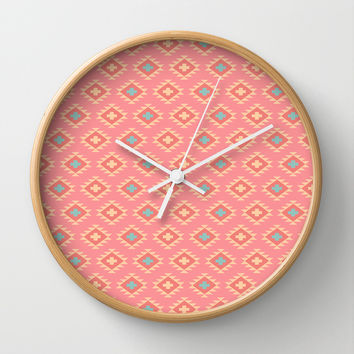 Southwestern Style Pattern on Soft Red Wall Clock by CandyBoxDigital