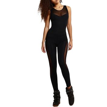 Sexy Mesh Bodysuit Women Fitness Yuga Bodycon Jumpsuits Summer Patchwork Overall Hollow Out Playsuits Leotard Catsuit Black