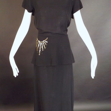 1940s Black Stud & Sequin Cocktail Dress, Bust-38