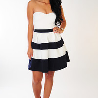Girls Night Out Dress: White/Navy
