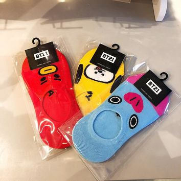 New Kpop BTS Bangtan BT21 Harajuku Kawaii Comfortable Cotton Socks COOKY CHIMMY TATA MANG SHOOKY KOYA RJ Breathable Short Socks