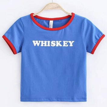 WHISKEY print crop top edge red T-shirt top
