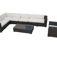 Palm Springs Outdoor Wicker Patio 7 Piece Sectional Sofa Set