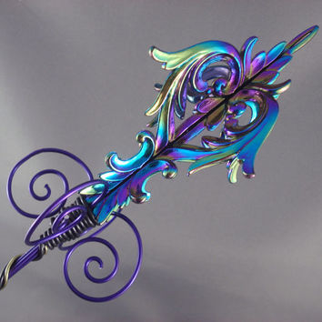 Purple and Black Iridescent Damask Evil Queen Sceptre - Made to Order
