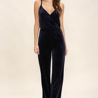 BB Dakota Pearson Navy Blue Velvet Jumpsuit