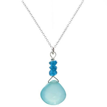 "Neon Blue Apatite Gemstones - Aqua Chalcedony Gemstone - 18"" 925 Sterling Silver Cable Chain - Handmade Pendant Necklace"