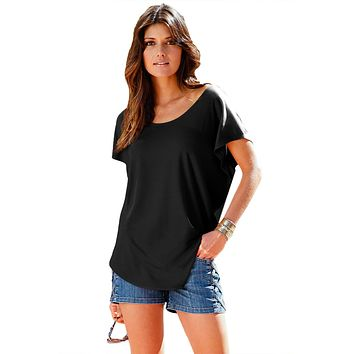 Black Macrame Low-cut Back Dolman Sleeve Shirt