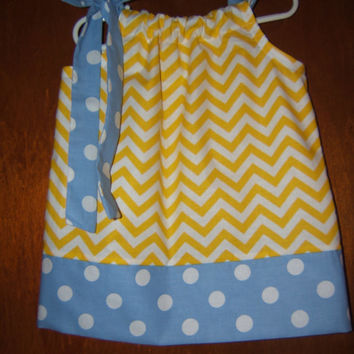 Easter Pillowcase Dress Yellow Chevron with Light Blue Polka Dots 3month-6 Infant Baby Girl Toddler Spring Summer Beach Vacation Easter
