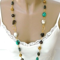Multi-stone Baroque Pearl Gold Opera Style Handmade Necklace | DoubleSJewelry - Jewelry on ArtFire