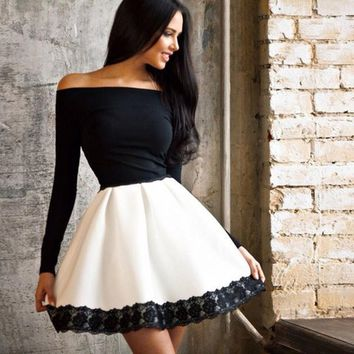 Off the Shoulder Lace Trim Long Sleeve Beautiful Girl Party Dress