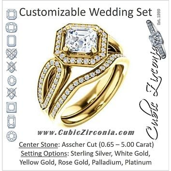 CZ Wedding Set, featuring The Jordyn Elitza engagement ring (Customizable Halo-Style Asscher Cut with Twisting Pavé Split-Shank)