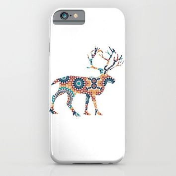 DEER SILHOUETTE WITH PATTERN iPhone & iPod Case by deificus Art