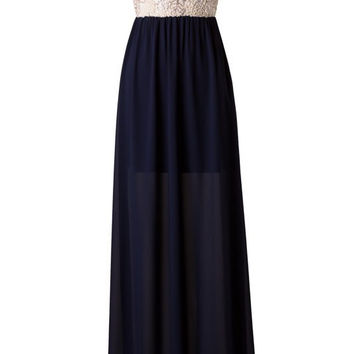 Subtle Sparkle Maxi Dress - Navy