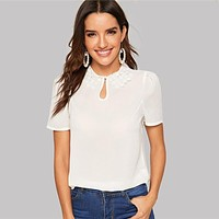 Elegant Keyhole Front Lace Collar Top Round Neck Puff Sleeve Women Blouses Workwear Office Lady Solid Blouse