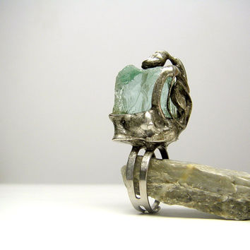 Jewelry by AMW - Raw Gemstone Adjustable Ring - Natural Stone Ring - Raw Aquamarine Ring - Tiffany Technique