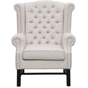 SANCIA BEIGE LINEN CLUB CHAIR