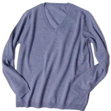 Men's Merino Wool Blend Solid V-Neck Sweater Pullover