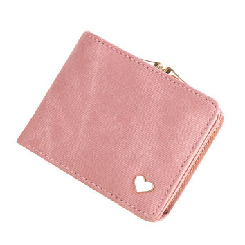 Solid Gold Heart Clutch Wallet Multi Function Change Purses Large Capacity Zipper Women Wallets Cute Card Hold Money Bag
