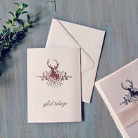 rose reindeer card pack | 8 blush pink christmas cards embossed copper rose gold | set of 8 holiday cards with envelopes in A6 size