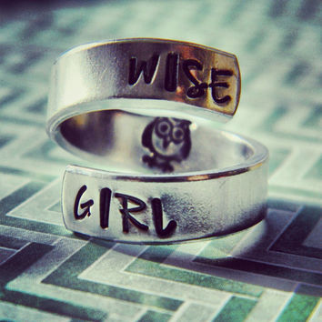 Wise girl owl inside spiral hand stamped