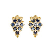 Blue Sapphire Flower Stud Earrings