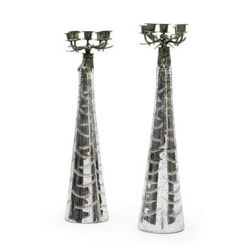 Pair of Glass Mercury Candelabras