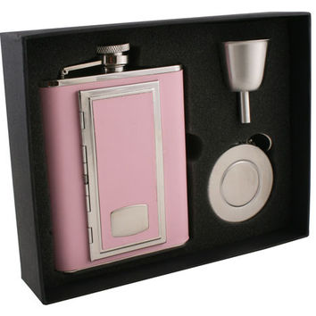 Visol SP Pink Leather 6oz Stellar Flask Gift Set