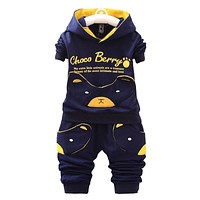 Spring cartoon baby boy clothing sets hooded jacket trousers suit for infant children boys girls pullover clothes