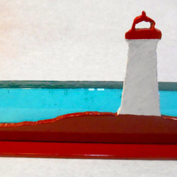 Suncatcher, Glass and Metal Lighthouse, Stained Glass Lighthouse, Glass Ocean Scene, Sun Catcher