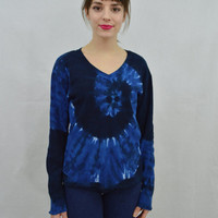 Tie Dye Shirt Soft Grunge Hippie Long Sleeve MED 90s Vintage Tie Dye Spiral Blue Womens Vintage Clothing 1990s Psychedelic Boho V neck shirt