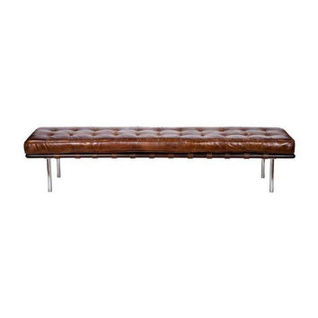 Vintage Tobacco Leather Bench
