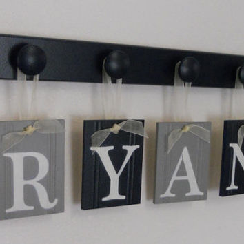 Baby Name Wall Signs in Navy and Gray - Baby Boy Nursery - RYAN Set includes 4 Wood Pegs Navy Blue