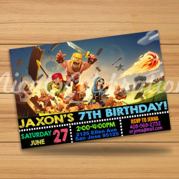 Clash of Clans Chalk Design Invitation - Digital File