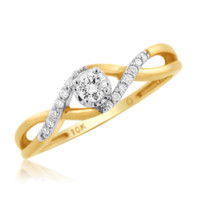 0.17 Cttw Round Solitaire With Accent Promise Ring