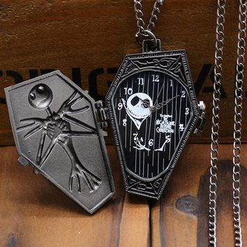 Antique Black The Nightmare Before Christmas Coffin Bronze Pocket Watch With Necklace Chain For Gift