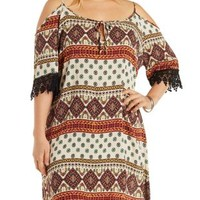 Plus Size Multi Cold Shoulder Shift Dress by Charlotte Russe