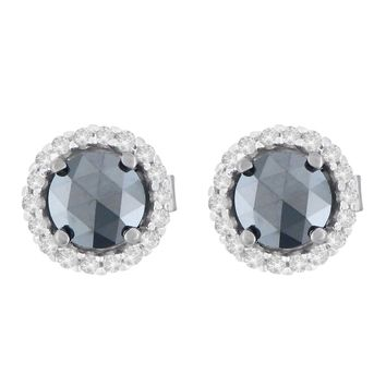 14K White Gold 1 1/2 CTTW Round and Treated Black Rose-Cut Diamond Stud Earrings