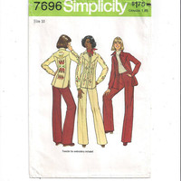 Simplicity 7696 Pattern for Misses Shirt Jacket & Pants, Southwestern Transfers, Size 10, From 1976, Vintage Pattern, Home Sewing Pattern