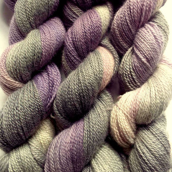 Sock Yarn, fingering weight yarn, 4 ply hand dyed blue faced leicester wool- 300 meters, grey, pink / lilac and purple