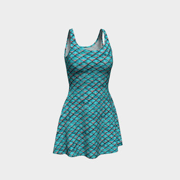 Teal blue and coral pink arapaima mermaid scales pattern Flare Dress Flare Dress