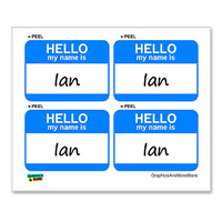 Ian Hello My Name Is - Sheet of 4 Stickers