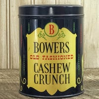Collectible Tin/ Canister Vintage Advertising Bowers Cashew Crunch
