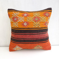 Tangerine kilim pillow cover with embroideries