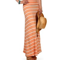 Peach/White Striped Maxi Skirt
