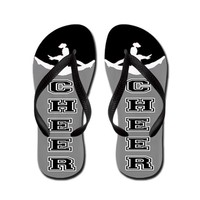Cheer black and Gray Flip Flops on CafePress.com
