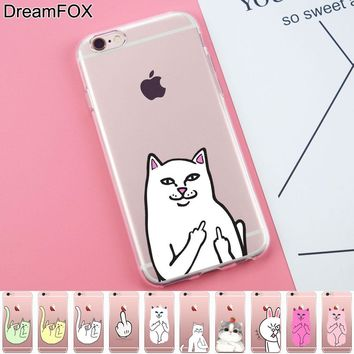 L303 Pocket Cat Middle Finger Cat Soft TPU Silicone  Case Cover For Apple iPhone X 8 7 6 6S Plus 5 5S SE 5C 4 4S